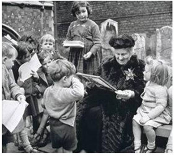 Dr. Maria Montessori with children